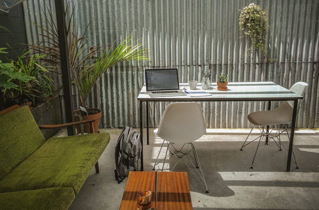Office desk in shed